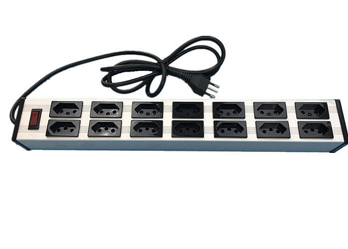 "Electrical 14 Way 19"" Brazil Multi Socket Extension Cord With Switch 10 Amp 250V"
