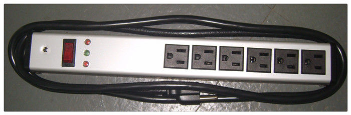 Slim 6 Outlet Metal Power Strip Bar For Computers / Audio And Video Equipment